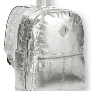 Silver Crinkle Dome Backpack